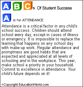 abcs of student success a is for attendance education world