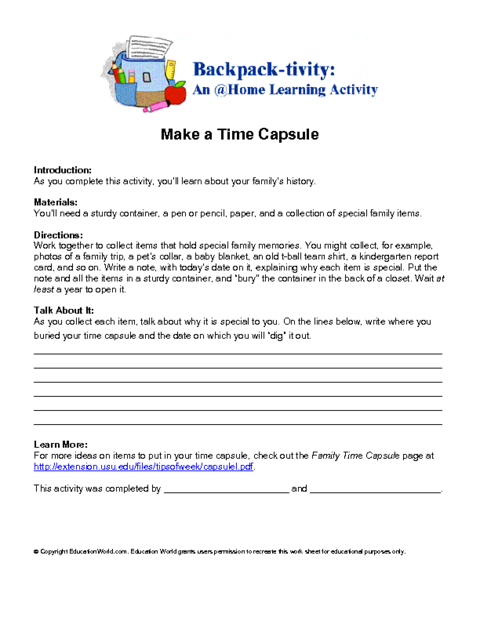 photograph relating to Time Capsule Printable Worksheets named Produce a Period Capsule Training Global