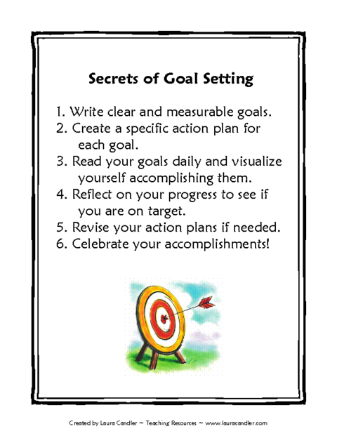 Secrets Of Goal Setting Template Education World