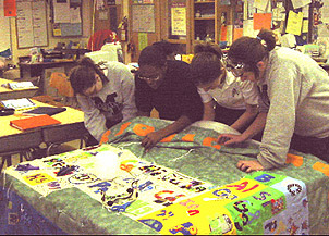 Coding and quilting the elements education world marian high students work on their periodic table quilt urtaz Gallery