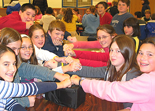 middle school lunch table. Modren Table Students At LymeOld Lyme Middle School In Old Lyme Connecticut Show Off  Their Red Dots For Participating Mix It Up Lunch Day And Table L