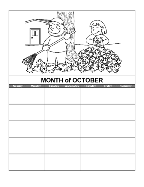October Calendar Template Education World