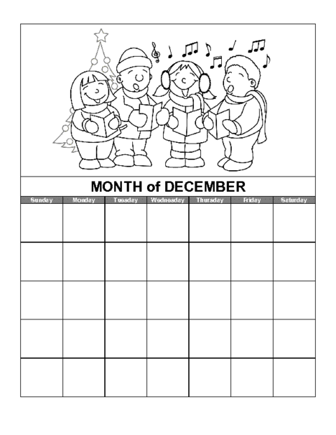 December Calendar Template Education World