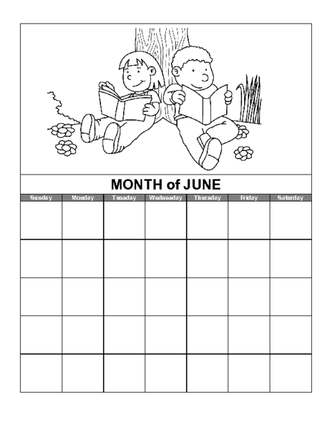 June Calendar Template Education World