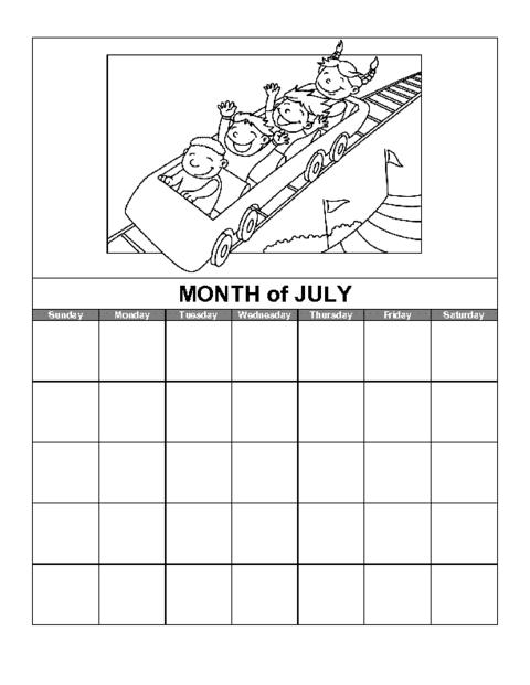 July Northern Hemisphere Calendar Template Education World