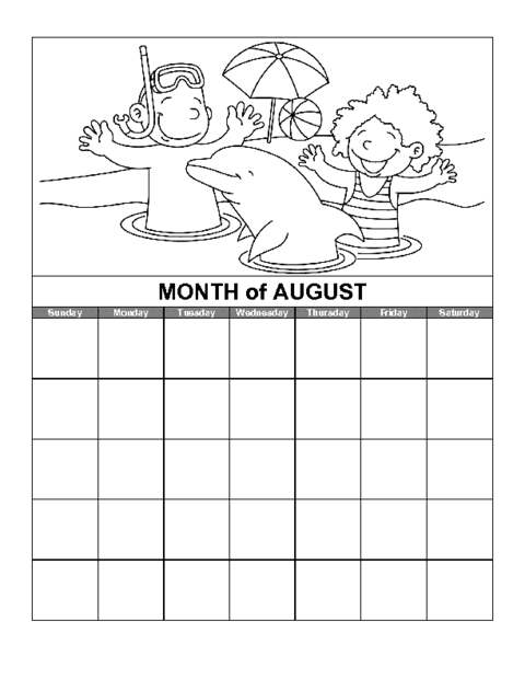 August Calendar Template Education World