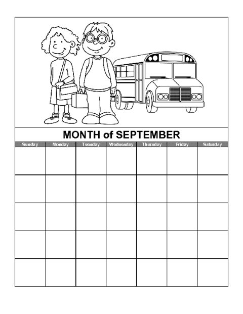 Art Calendar Template : September calendar template education world