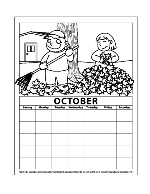 April Calendar Education World : October pdf education world