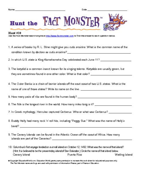 Factmonster B Thumb on bug 2 worksheet