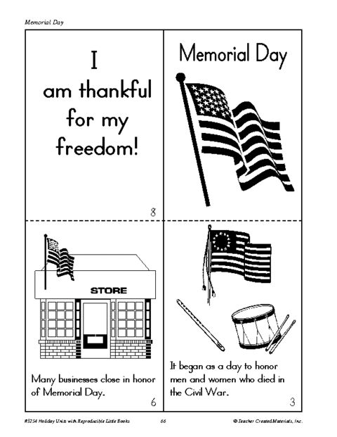 This is a graphic of Memorial Day Printable Activities in classroom
