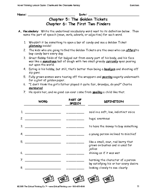 Worksheets Creative Thinking Worksheets education world critical thinking worksheet grades 3 5 vocabulary charlie and the chocolate factory