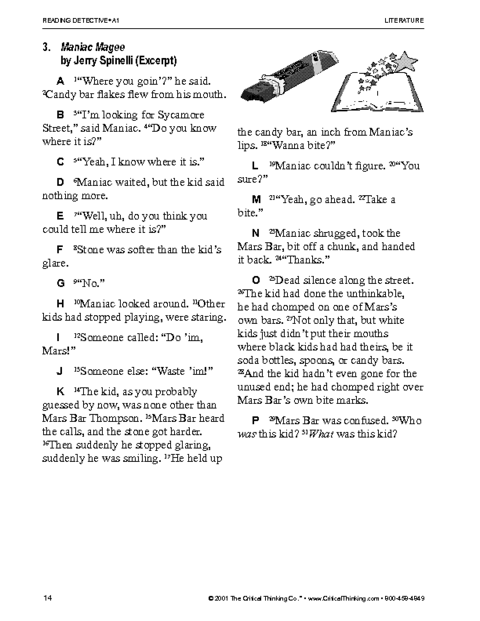 critical thinking worksheet grades reading detectives  maniac magee
