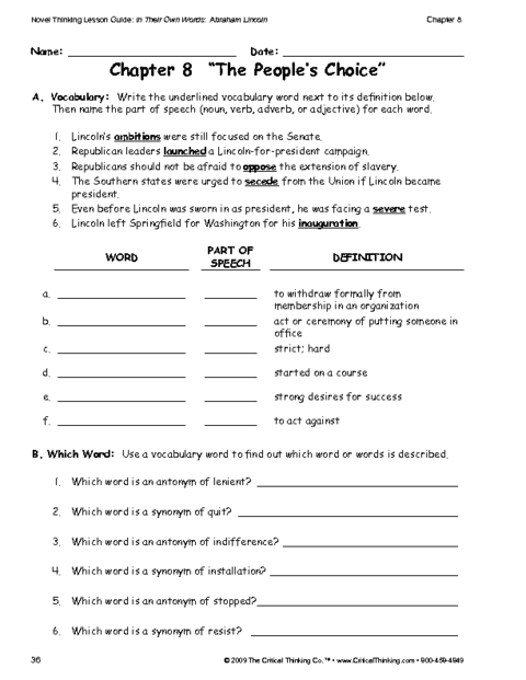 Critical Thinking Worksheet Grades 6-8: Vocabulary | Education World