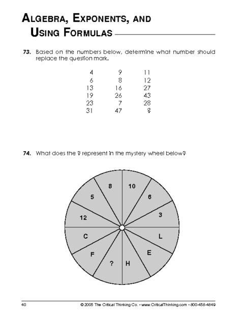 Critical Thinking Worksheet Grades 6-8: Mathematical