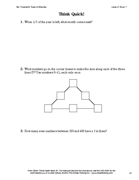 critical thinking activities for mathematics Distribute this packet of worksheets to build students' critical thinking skills.