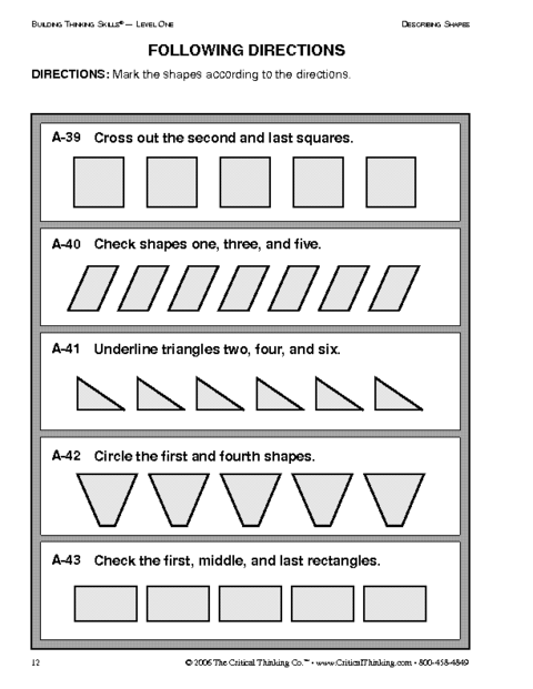 math worksheet : education world critical thinking following directions worksheet : Critical Thinking Worksheets For Kindergarten