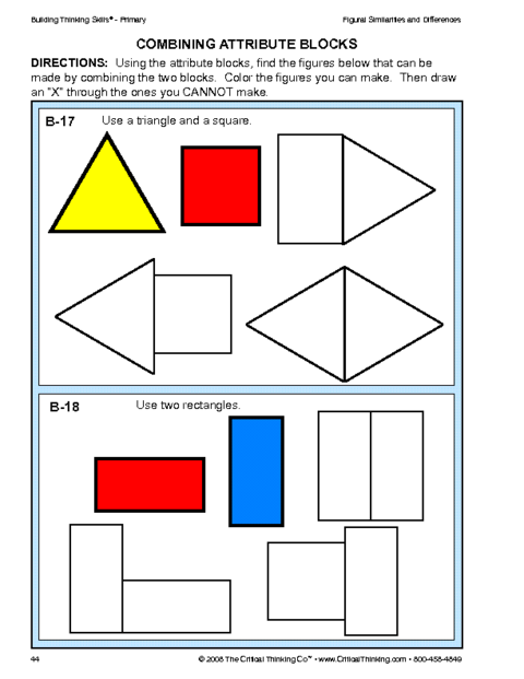 Critical Thinking Combining Attribute Blocks Worksheet