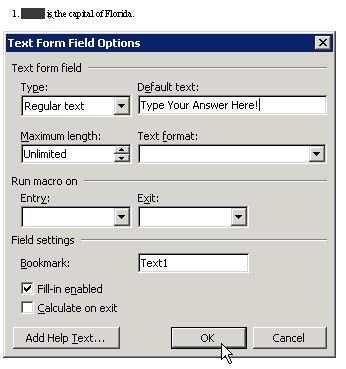 Education World® Creating Test Forms in Microsoft Word