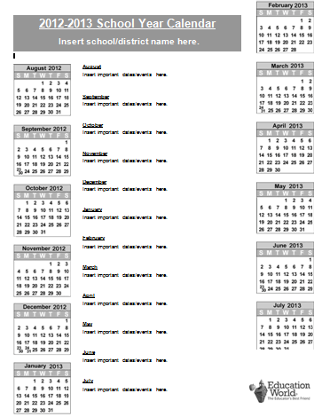Math Puzzles on Education World  School Calendar Template 2012 2013