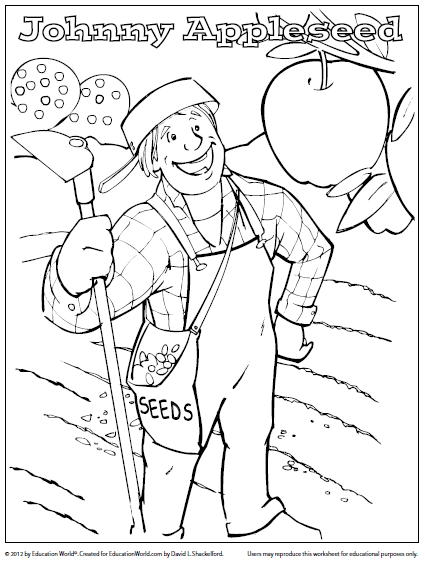 Johnny Appleseed Coloring Page Coloring Sheet Johnny Appleseed  Education World