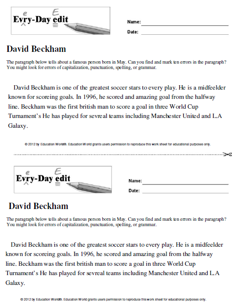 Every-Day Edit: David Beckham : Education World