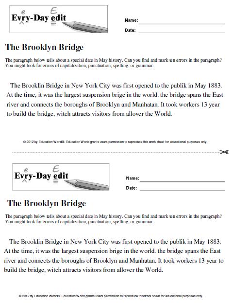 Education World: Every-Day Edit: The Brooklyn Bridge