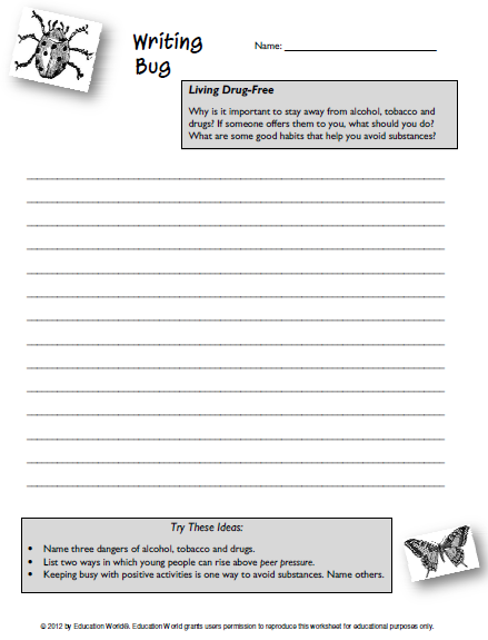Worksheet Drug Education Worksheets education world writing bug staying drug free click here pdf to download the document
