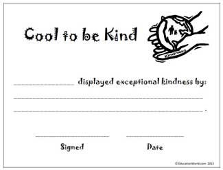 cool to be kind award certificate education world