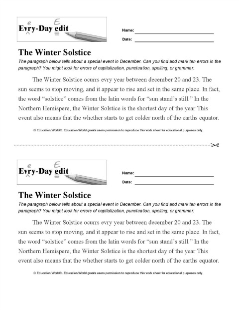 picture regarding Daily Word Search Printable called Each-Working day Edit: Wintertime Solstice Printable Schooling World wide