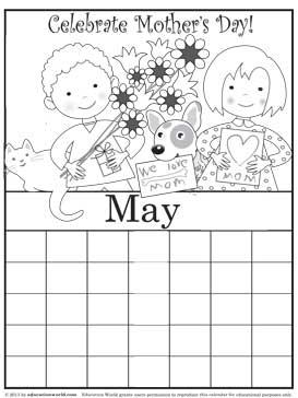 coloring calendar may version 2 education world