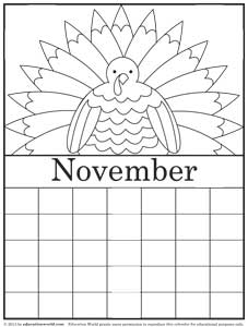 november calendar coloring pages 2015 - photo#13