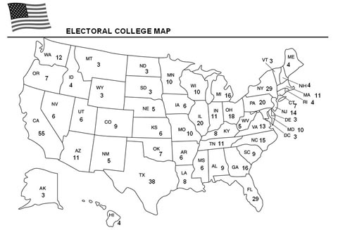 Education World Electoral College Map Template - Us map electoral to color