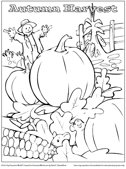 Coloring Sheet: Fall Harvest | Education World