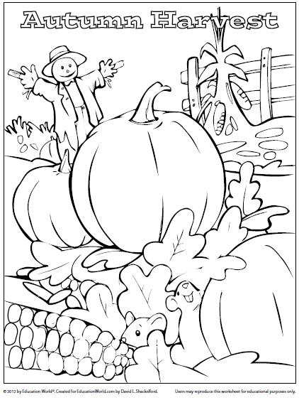 coloring sheet fall harvest education world
