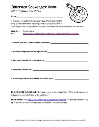 picture relating to Classroom Scavenger Hunt Printable named Web Scavenger Hunt: The Hobbit Schooling Planet