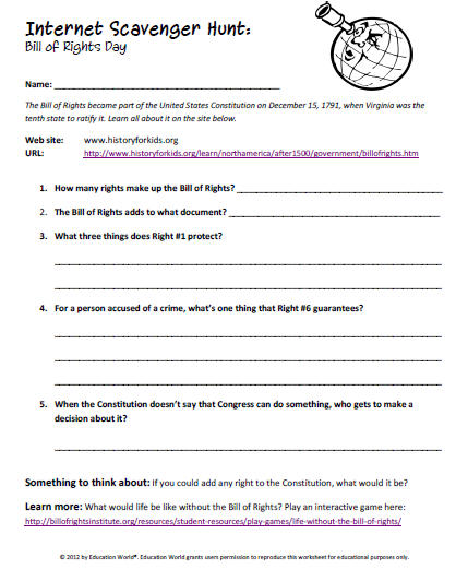 Printables Bill Of Rights Worksheets education world internet scavenger hunt the bill of rights click here pdf to download document