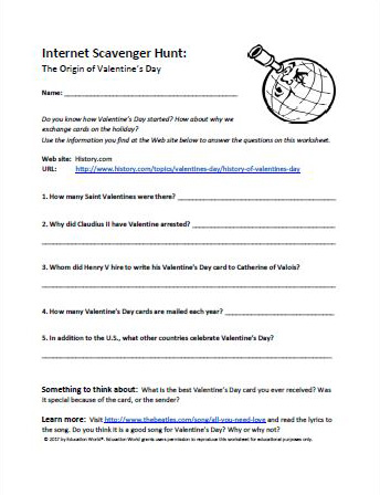 image about Printable Internet Scavenger Hunt titled World-wide-web Scavenger Hunt: Valentines Working day Printable
