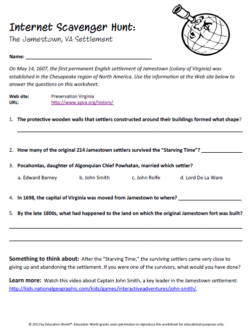 Education World Internet Scavenger Hunt Jamestown – Internet Scavenger Hunt Worksheet