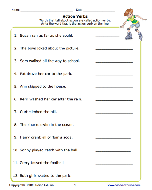 1st Grade Action Words Worksheet http://www.educationworld.com/a_lesson/worksheets/schoolexpress/K-2/pdfs/action_verbs.shtml