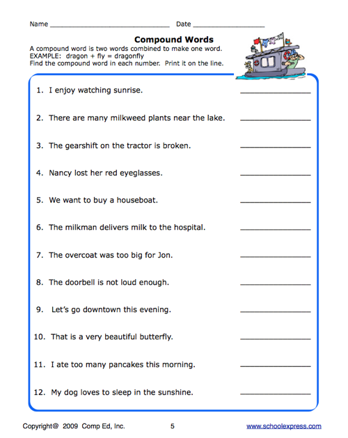 Printables Compound Machines Worksheet education world school express compound word worksheet click here compoundwrds01 pdf to download the document