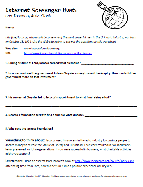 Printables Internet Scavenger Hunt Worksheet education world internet scavenger hunt lee iacocca click here pdf to download the document