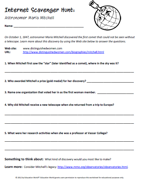 Worksheets Internet Scavenger Hunt Worksheet internet scavenger hunt worksheet education world maria mitchell