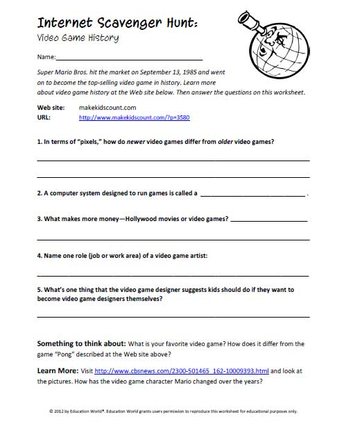 Worksheets Internet Scavenger Hunt Worksheet education world internet scavenger hunt video game history click here pdf to download the document
