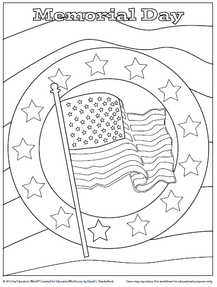 Coloring sheet memorial day education world for Memorial day coloring pages for kids