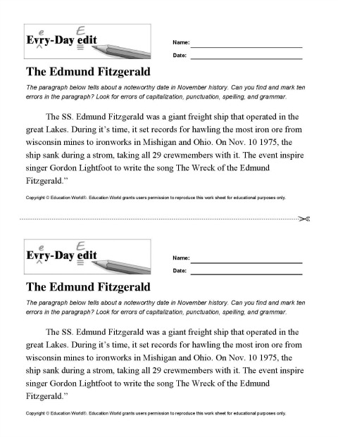 Printables Daily Edit Worksheets education world every day edit the edmund fitzgerald download search form