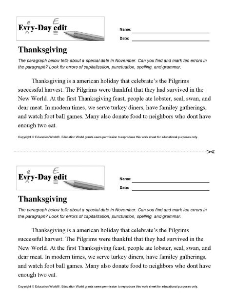 Everyday Edit Thanksgiving Download Education World