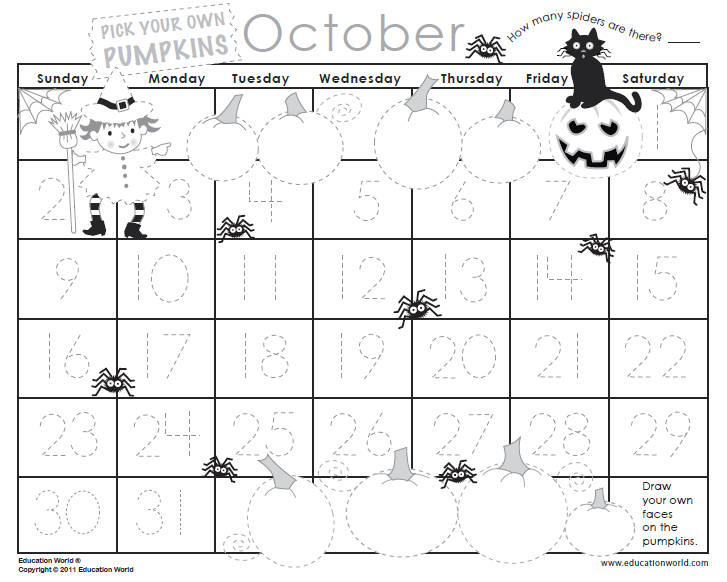 October 2011 Traceable Calendar Template Education World