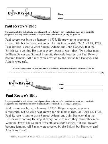 Paul Revere'-s Ride: Reader Theater Script   Rubrics, Worksheets ...