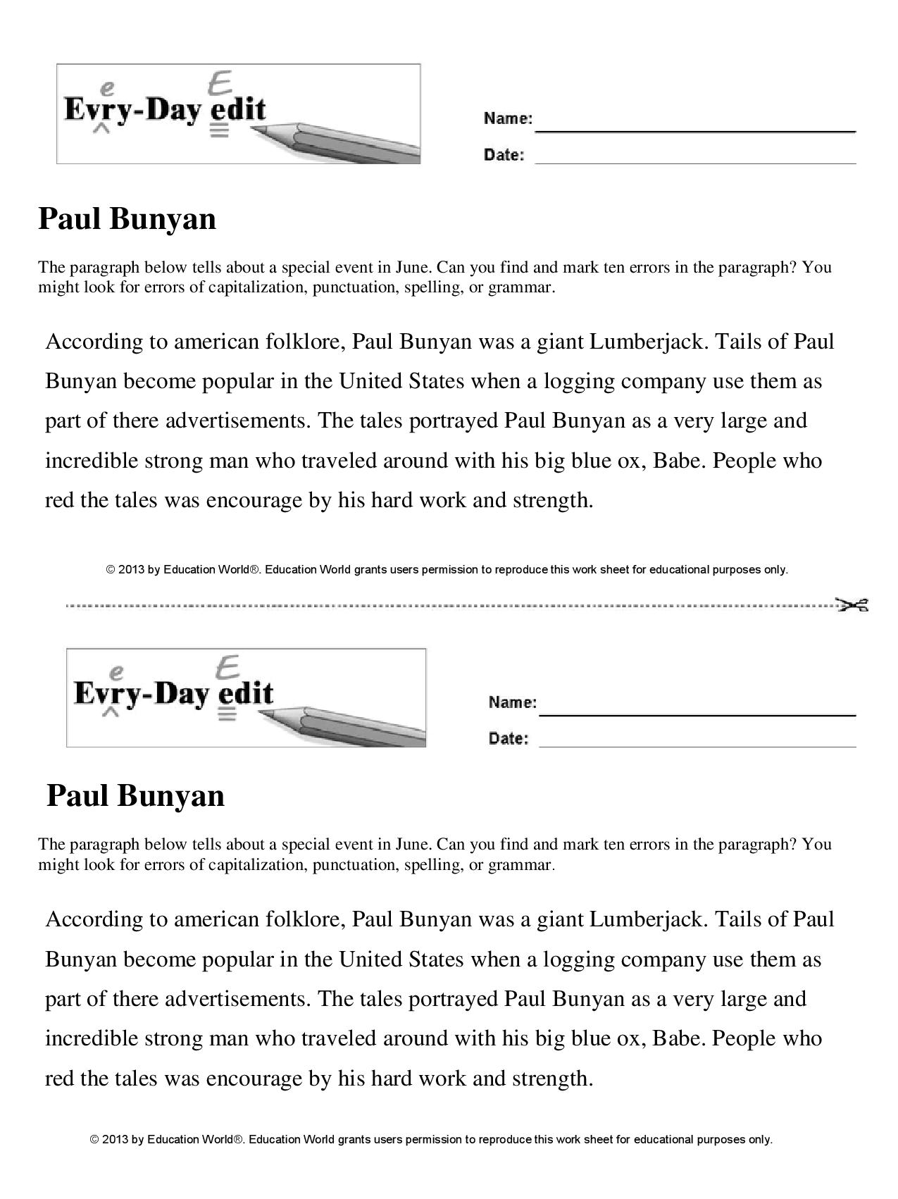 Classroom Writing Ideas ~ Paul bunyan education world