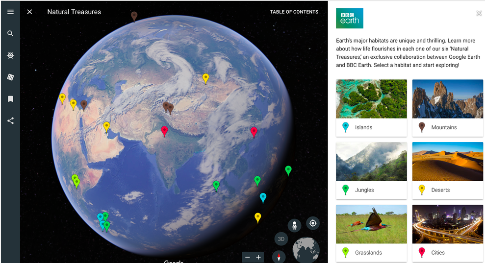 Five topics to explore using google earths voyager education world it was created with the help of some of the worlds leading storytellers scientists and nonprofits google says in its announcement of the launch gumiabroncs Gallery